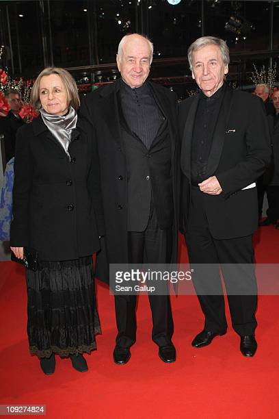 German actor Armin MuellerStahl his wife Gabriele Scholz and Greek director CostaGavras attend the 'Music Box' Premiere during day nine of the 61st...