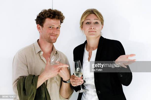 German actor Artjom Gilz and Former German fencer and olympic gold medalist Britta Heidemann during the discussion panel of Cliche Bashing 'Don't...