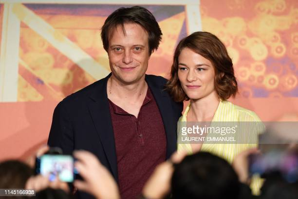 German actor August Diehl and Austrian actress Valerie Pachner arrive to hold a press conference for the film A Hidden Life at the 72nd edition of...