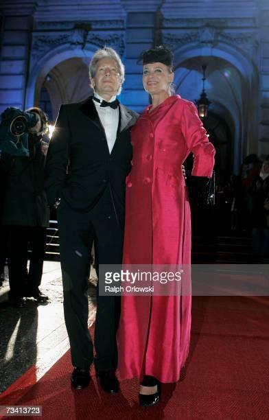 German actor Bernd Herzsprung and his wife Barbara arrive at the Deutscher Opernball 2007 on February 24 2007 in FrankfurtGermany