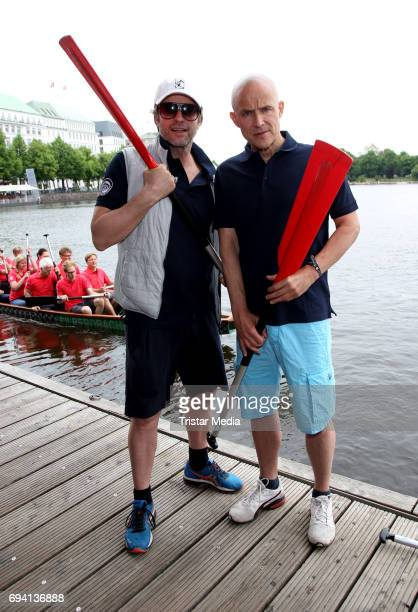 German actor Bruno Eyron and German actor Andreas Brucker attend the Michael Stich Foundation Presents Dragon Boat Cup on June 9 2017 in Hamburg...