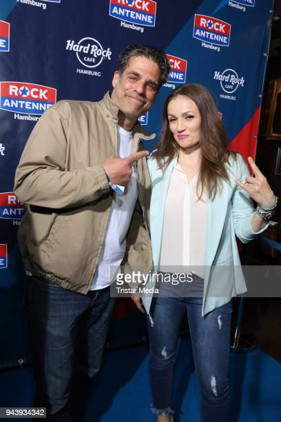 German actor Carsten Spengemann and boxing star Ina Menzer during the KickOff Party to the start of the radio station Rock Antenne Hamburg at Hard...