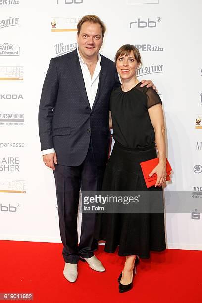 German actor Charly Huebner and german actress Anneke Kim Sarnau attend the Goldene Henne on October 28 2016 in Leipzig Germany