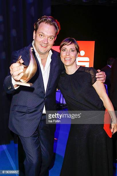 German actor Charly Huebner and german actress Anneke Kim Sarnau during the aftershow party at the Goldene Henne on October 28 2016 in Leipzig Germany
