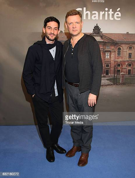 German actor Christoph Bach and german actor Justus von Dohnanyi attends the photocall for the new event series 'Charite' at East Hotel on January 19...
