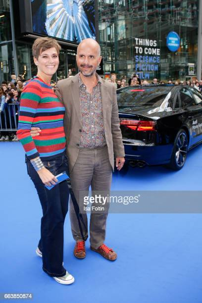 German actor Christoph Maria Herbst and his wife Gisi Herbst during the 'Die Schluempfe Das verlorene Dorf' premiere at Sony Centre on April 2 2017...