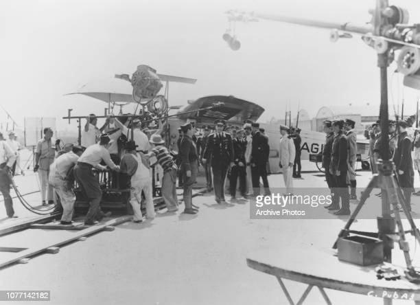 German actor Conrad Veidt as German officer Major Strasser arriving by air in a Fokker Super Universal in a scene for the Warner Bros film...