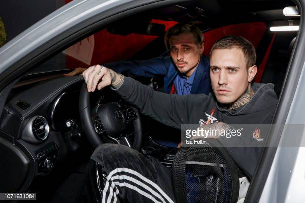 German actor Constantin von Jascheroff and tattoo artist Philipp Eid during the event 'FechtOlympiasiegerin fliegt mit Daimler Kunstflugass Revanche...