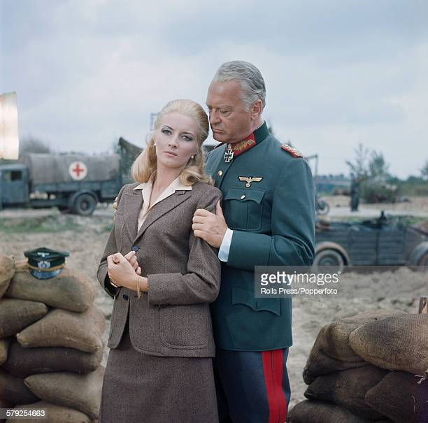German actor Curd Jurgens and Italian actress Daniela Bianchi pictured together in character as General Edwin von Keist and Kristina von Keist during...