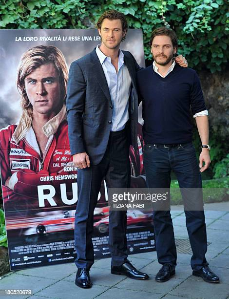 Rush 2013 film stock photos and pictures getty images german actor daniel bruhl and actor chris hemsworth pose during the photocall of the movie voltagebd Gallery
