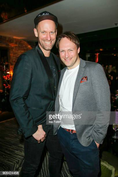German actor Daniel Termann and German actor Martin Stange during the Bunte New Faces Night at Grace Hotel Zoo on January 15 2018 in Berlin Germany