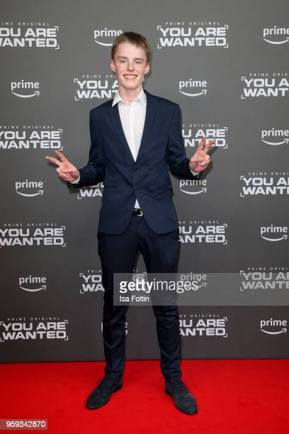 German actor Emil von Schoenfels attends the premiere of the second season of 'You are wanted' at Filmtheater am Friedrichshain on May 16 2018 in...