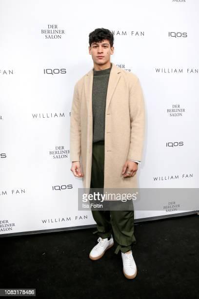 German actor Emilio Sakraya arrives for the William Fan Defile during 'Der Berliner Salon' Autumn/Winter 2019 at Knutschfleck on January 15 2019 in...