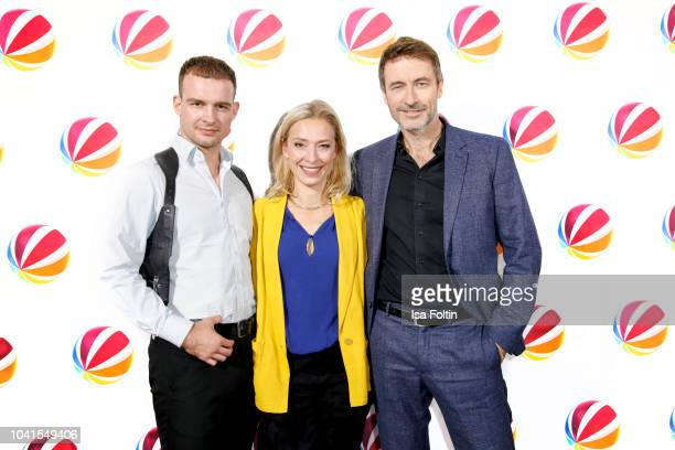 German actor Eric Stehfest German actress Sandra Borgmann and German actor Guido Broscheit attend the SAT1 Fiction photo call on September 26 2018 in...