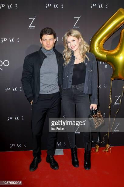 German actor Eugen Bauder and German actress Zsa Zsa Inci Buerkle during the 4 year anniversary party of GRACE Restaurant at Hotel Zoo on January 23...