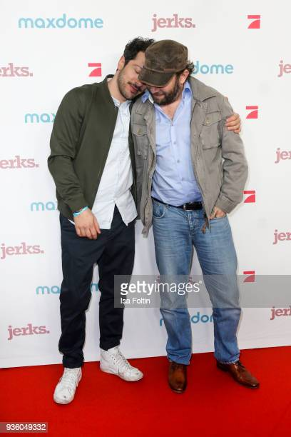 German actor Fahri Yardim and German presenter and actor Christian Ulmen during the 'Jerks' premiere at Zoo Palast on March 21 2018 in Berlin Germany