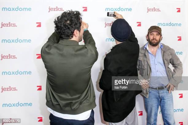 German actor Fahri Yardim German actor Aleksandar Jovanovic and German presenter and actor Christian Ulmen during the 'Jerks' premiere at Zoo Palast...