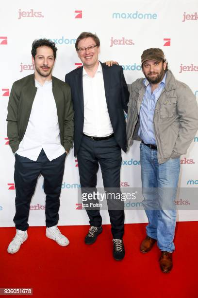 German actor Fahri Yardim Ralf Bartoleit and German presenter and actor Christian Ulmen during the 'Jerks' premiere at Zoo Palast on March 21 2018 in...