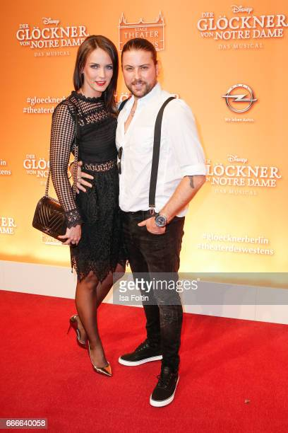 German actor Felix von Jascheroff and Bianca Bos attend the premiere of the musical 'Der Gloeckner von Notre Dame' on April 9 2017 in Berlin Germany