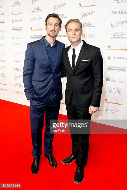 German actor Florian David Fitz and german actor and producer Matthias Schweighoefer attend the Goldene Henne on October 28 2016 in Leipzig Germany