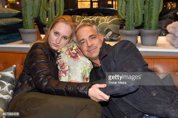 German actor Florian Fitz and his girlfriend Tatjana Thinius attend the PAD Object Store Opening on March 23 2017 in Berlin Germany