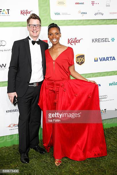 German actor Florian Simbeck and his wife Stephanie Simbeck attend the Green Tec Award at ICM Munich on May 29 2016 in Munich Germany
