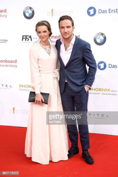 German actor Frederick Lau and his wife Annika Lau attend the Lola German Film Award red carpet at Messe Berlin on April 27 2018 in Berlin Germany