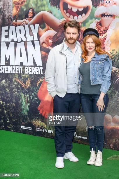 German actor Friedrich Muecke and German presenter and model Palina Rojinski during the 'Early Man Steinzeit Bereit' premiere at Kino in der...