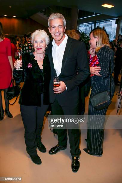 German actor Gedeon Burkhard and his mother Elisabeth von Molo attend the annual Victress Awards gala at Universitaet der Kuenste on April 8 2019 in...
