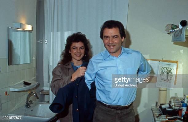 German actor Hans Juergen Baeumler with colleague Christine Neubauer, Germany, 1980s.