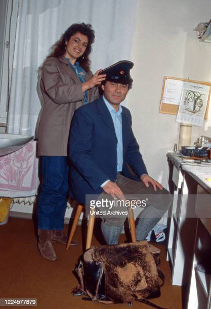 German actor Hans Juergen Baeumler with colleague Christine Neubauer Germany 1980s