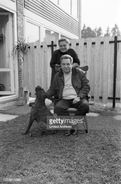 German actor Hans Musaeus at his garden, Germany, 1960s.