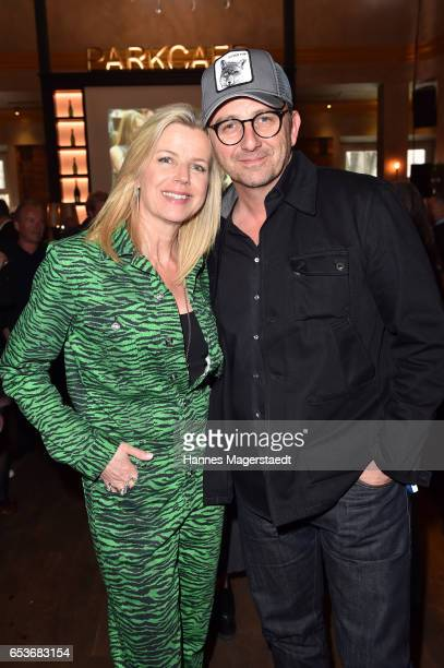 German actor Hans Sigl and his wife Susanne Sigl during the NdF after work press cocktail at Parkcafe on March 15, 2017 in Munich, Germany.
