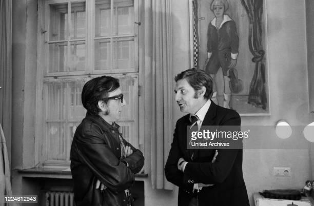 German actor Harald Juhnke with photographer Heinz Browers at Kleine Komoedie theatre Germany 1960s