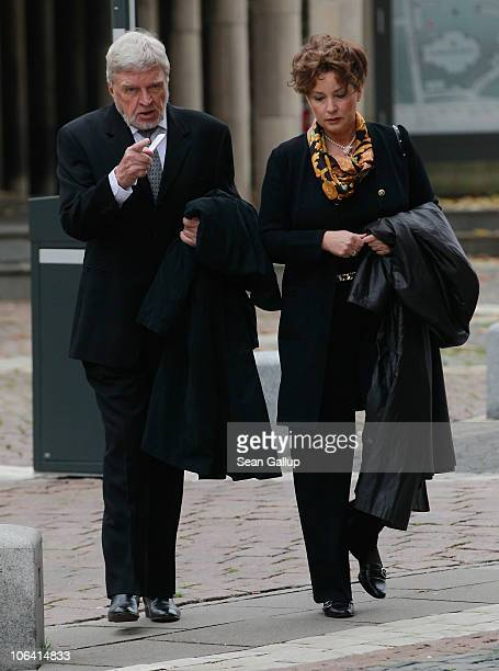 German actor Hardy Krueger and his wife Anita Krueger arrive for the memorial service for Loki Schmidt wife of former German Chancellor Helmut...