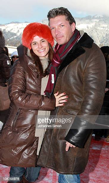 German actor Hardy Krueger Jr and Katrin Fehringer attend the Hahnenkamm race on January 22 2011 in Kitzbuehel Austria