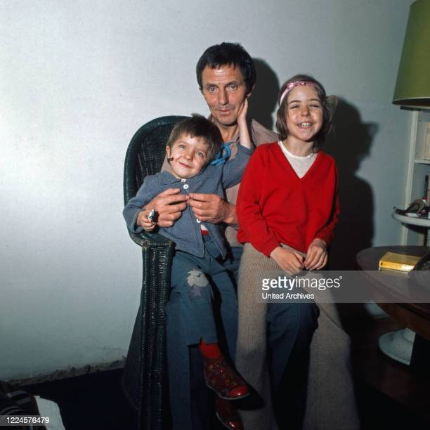 German actor Heinz Bennent with his children David and Anne Germany 1970s