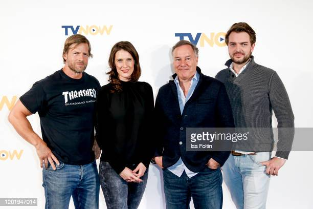 German actor Henning Baum author Veronica Priefer producer Nico Hofmann and producer Johannes Kunkel attend the TVNOW Fiction Ausblick 20/21 at Soho...