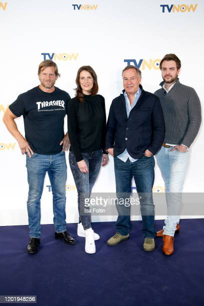 German actor Henning Baum author Veronica Priefer producer Nico Hofmann and producer Johannes Kunkel at the TVNOW Fiction Ausblick 20/21 at Soho...