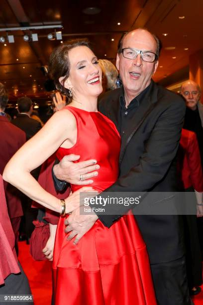 German actor Herbert Knaup and his wife Christiane Knaup attend the opening party of the 68th Berlinale International Film Festival Berlin at...