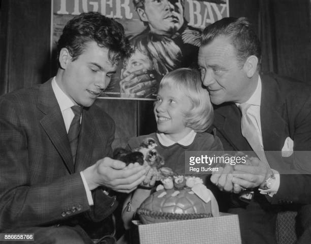German actor Horst Buchholz with actress Hayley Mills and her father actor John Mills with Hayley's Easter gift a box of live chicks during a press...
