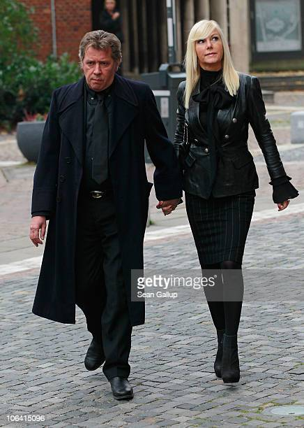 German actor Jan Fedder and his wife Marion Fedder arrive for the memorial service for Loki Schmidt wife of former German Chancellor Helmut Schmidt...