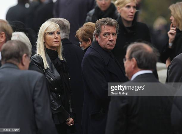 German actor Jan Fedder and his wife Marion Fedder depart following the memorial service for Loki Schmidt wife of former German Chancellor Helmut...