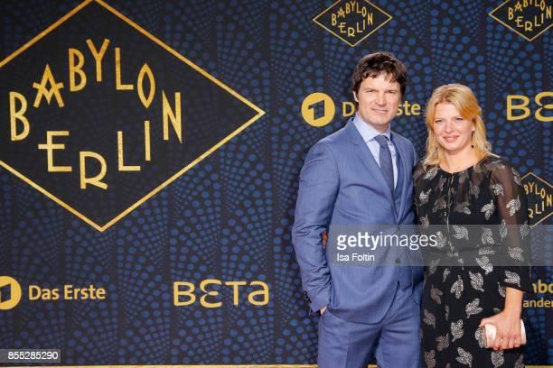 German actor Jens Harzer and German actress Joerdis Triebel attend the 'Babylon Berlin' Premiere at Berlin Ensemble on September 28 2017 in Berlin...