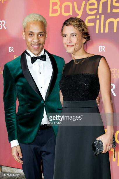 German actor Jerry Hoffmann and German actress Amanda da Gloria attend the Bayerischer Filmpreis 2018 at Prinzregententheater on January 21 2018 in...