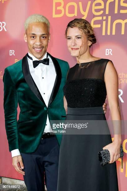 German actor Jerry Hoffmann and German actress Amanda da Gloria attend the Bayerischer Filmpreis 2017 at Prinzregententheater on January 21 2018 in...