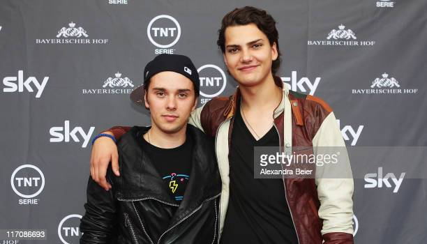 German actor Jimi Blue Ochsenknecht and german TV host Mitja Lafere pose during a photo opportunity before the screening of the Germany premiere on...