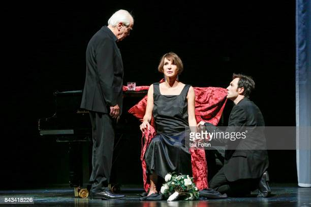 German actor Joachim Bliese German actress Anouschka Renzi and German actor Arne Stephan perform during the 'Die Kameliendame' Rehearsal Photo Call...