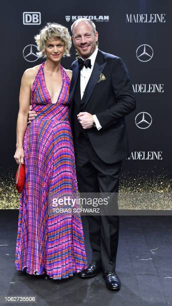 German actor Johann von Buelow and his wife Katrin pose during the award ceremony of the Bambi media prize on November 16, 2018 at the Stage Theatre...