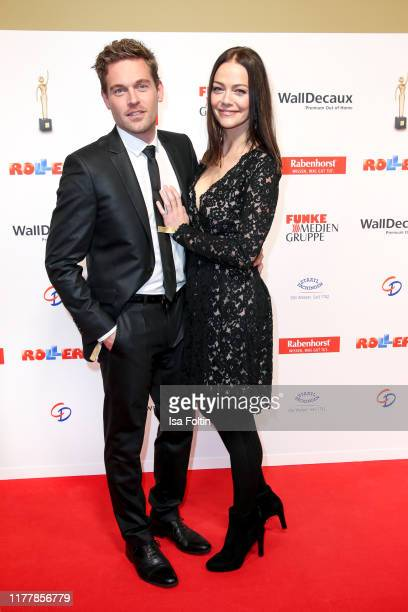 German actor Joscha Kiefer with his wife Kristina Doerfer attend the annual Goldene Bild der Frau award on October 23 2019 in Hamburg Germany